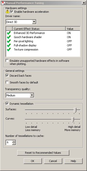 AutoCAD hardware acceleration