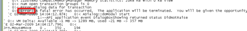Error in a Journal file